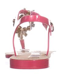 Ivanka Trump - Pink Adoren Jeweled T-strap Flat Sandals - Lyst