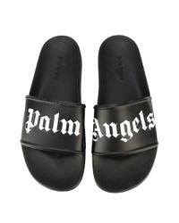 Palm Angels - White Logo-Print Rubber Slides - Lyst