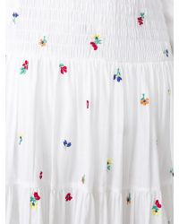 SUNO - White Embroidered Smocked Maxi Skirt - Lyst