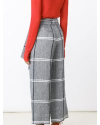 SUNO | Multicolor Cropped Plaid Wide-leg Pants | Lyst