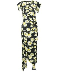 Marni | Multicolor Floral Print Draped Dress | Lyst