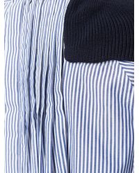 Sacai - Blue Stripe-paneled Cotton Knit Pullover - Lyst