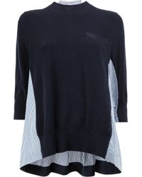 Sacai | Blue Stripe-paneled Cotton Knit Pullover | Lyst