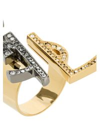 Saint Laurent - Metallic Ysl Monogram Deconstructed Ring - Lyst