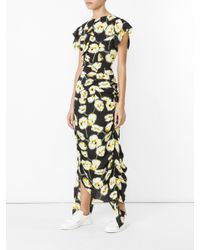 Marni - Multicolor Floral Print Draped Dress - Lyst