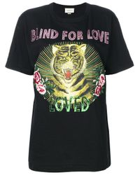 Gucci - Black Blind For Love Tiger Print T-shirt - Lyst