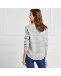 The White Company Gray Cable Curve Hem Jumper