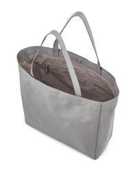 The White Company Gray Leather Everyday Tote Bag