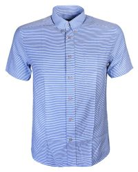 PS by Paul Smith - Blue Striped Cotton And Linen-blend Shirt for Men - Lyst