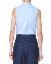 Tibi - Blue Oxford Sleeveless Ruffle Shirt - Lyst
