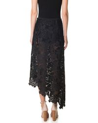 Tibi - Black Lace Asymmetrical Skirt - Lyst