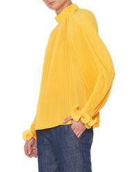 Tibi - Yellow Pleated Top - Lyst
