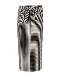 Tibi | Black Ren Stripe Tie Front Skirt | Lyst