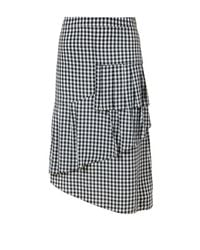 Tibi | Black Viscose Gingham Ruffle Skirt | Lyst