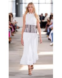 Tibi - White Pleated Sleeveless Dress With Removable Belt - Lyst