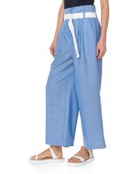 Tibi - Blue Serge Suiting Cropped Pleated Paperbag Pants - Lyst