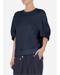 Tibi - Blue Short Sleeve Sweatshirt - Lyst