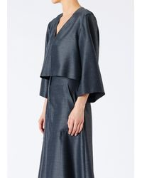 Tibi - Gray Viscose Drape Bell Sleeve Top - Lyst