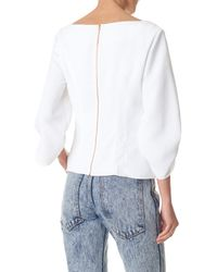 Tibi - White Drape Twill Corset Peplum Top - Lyst