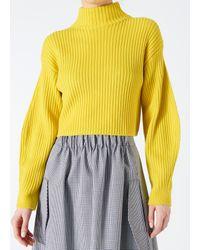 Tibi - Yellow Merino Rib Sculpted Sleeve Pullover - Lyst