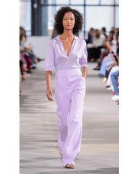 Tibi - Purple Crispy Viscose Short Sleeve Polo - Lyst