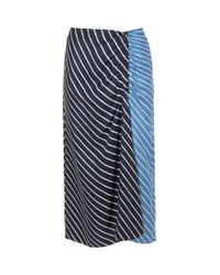 Tibi - Blue Delphina Stripe Shirred Skirt - Lyst