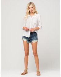 Free People - Blue Daisy Chain Lace Womens Denim Shorts - Lyst