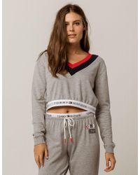 2e860f1b79ab Lyst - Tommy Hilfiger Retro Crop Womens Sweatshirt in Gray