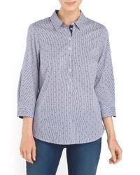Tj Maxx - Blue Roll Sleeve Printed Shirt - Lyst