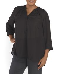 Tj Maxx - Black Plus Hidden Packet Blouse - Lyst