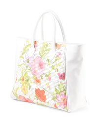 Tj Maxx - White Made In Italy Leather Floral Tote - Lyst