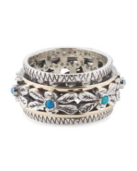 Tj Maxx - Metallic Made In Israel Sterling Silver And 14k Gold Opal Spinning Ring - Lyst