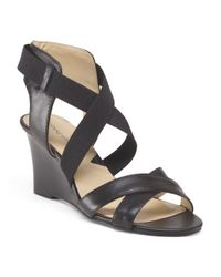 Tj Maxx - Black Leather Rheanne X Band Wedge - Lyst