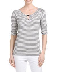 Tj Maxx - Gray Striped Scoop Neck Top - Lyst
