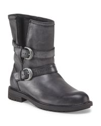 Tj Maxx - Gray Leather Boot With Side Buckles - Lyst