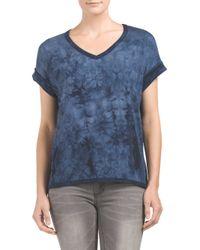 Tj Maxx - Blue Short Sleeve Tie Dye Knit Top - Lyst
