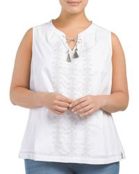 Tj Maxx - White Plus Embroidered Sequined Tank - Lyst