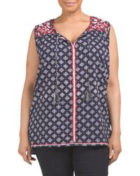 Tj Maxx - Blue Plus Medallion Print Top With Tie Neck - Lyst