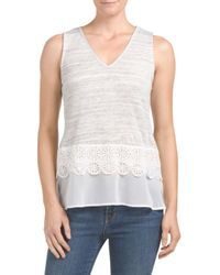 Tj Maxx - Gray Made In Usa Mixed Media Textured Top - Lyst