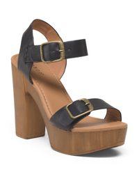 Tj Maxx - Black Faux Wood Bottom Platform Sandal - Lyst
