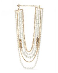 Tj Maxx - Metallic Made In Usa Multi Strand Gold Tone Pearl Necklace With Crystal - Lyst