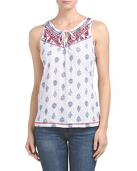 Tj Maxx - Blue Embroidered Neck Tie Top - Lyst