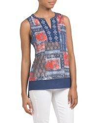 Tj Maxx - Blue Sleeveless Printed Top - Lyst