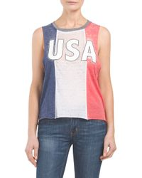Tj Maxx - Blue Usa Three Panel Tank - Lyst