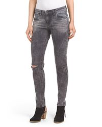 Tj Maxx - Gray Dark Wash Skinny Destructed Jean - Lyst
