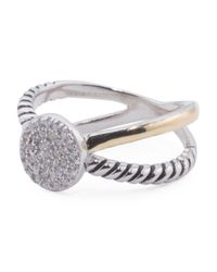 Tj Maxx - Metallic 14k Gold And Sterling Silver Pave Disk Bypass Ring - Lyst