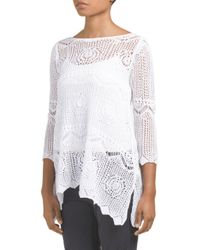 Tj Maxx - White Floral Open Work Sweater - Lyst