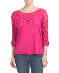 Tj Maxx - Pink Lace Yoke And Shoulder Top - Lyst