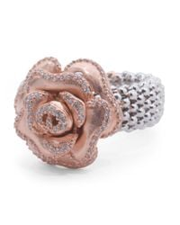 Tj Maxx - Pink Made In Italy 14k Rose Gold Plated Sterling Silver Flower Ring - Lyst