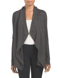 Tj Maxx - Gray Made In Usa Drape Front Cardigan - Lyst